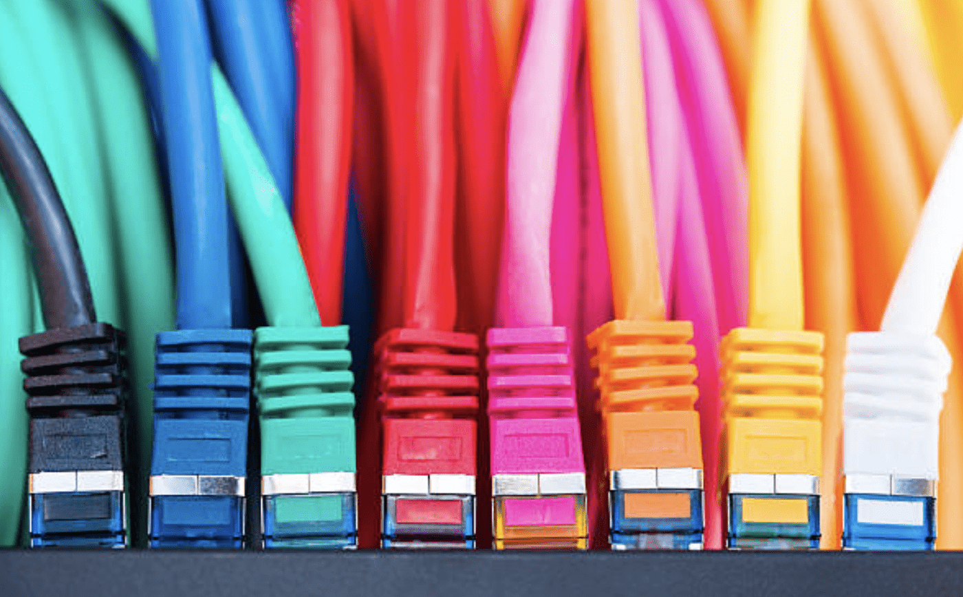 Cabling using Colourful data cables