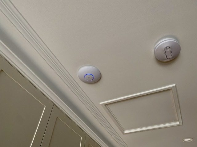 WiFi extender installed neatly into ceiling in Blakiston