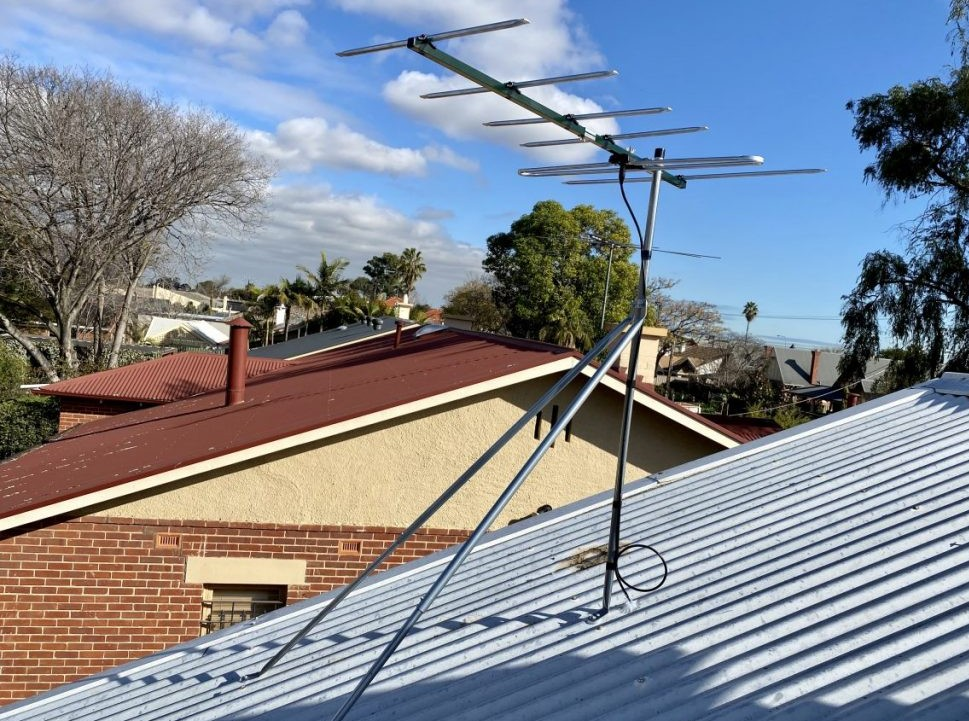 Antenna moved for solar panel installation
